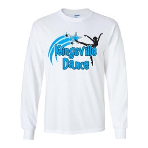 Kingsville Dance  logo Long Sleeve logo tee white blue